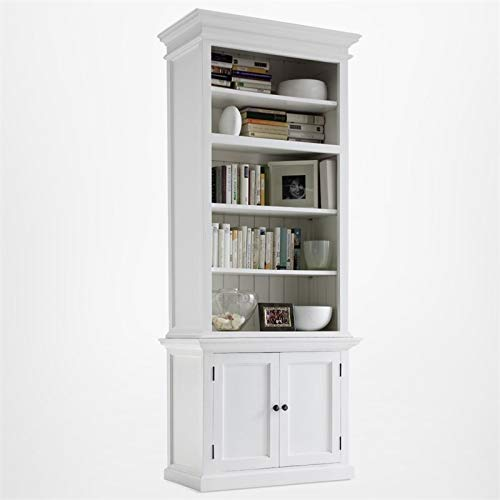 (NovaSolo Halifax Pure White Mahogany Wood Single Hutch With 4 Shelves And Storage)