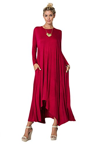Tabeez Women's Long Loose Casual Asymmetrical Oversize Handkerchief Hem Jersey Maxi Dress (Made In The USA) (Large, Long Sleeve - Jersey Maxi Dress