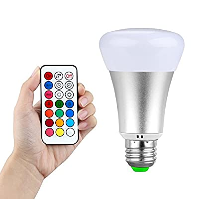 iYonch 10W E27 RGBW Color Changing LED Bulb,Daylight White A19 Dimmable Mood Light Lamp with Timer Function Remote Control