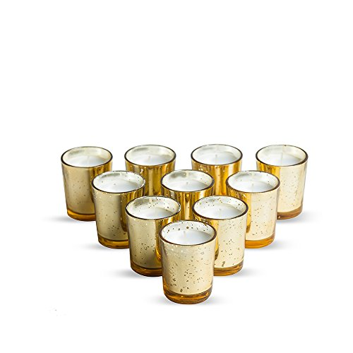 - Glass Votive Candles Unscented Set of 12 by Simplicité in Mercury Gold Speckled Finish | Ideal for Weddings, Decorations and Parties | Burn Time Upto 15 Hours