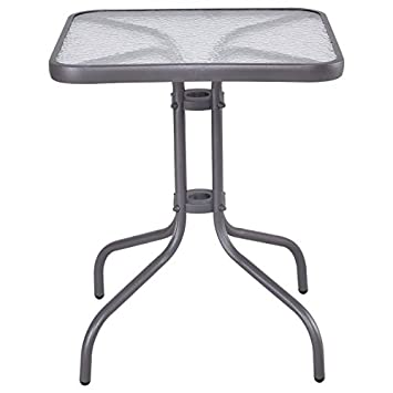 Tangkula 24 Patio Table Garden Yard Outdoor Lawn Indoor Tempered Glass Top Steel Frame Coffee End Side Table Grey Square