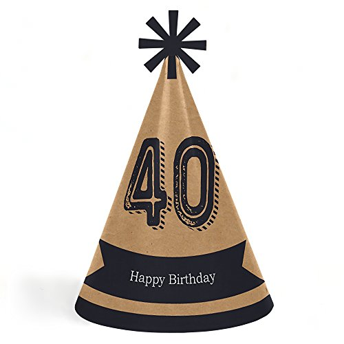 (40th Milestone Birthday - Dashingly Aged to Perfection - Cone Happy Birthday Party Hats for Kids and Adults - Set of 8 (Standard)