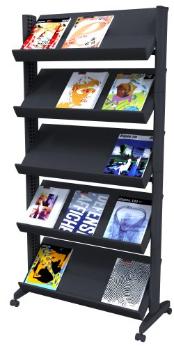 PaperFlow Single Sided Mobile Literature Display, 5 Shelves, 33.67x15.17x66 Inches, Black (255N.01) (Single Tables Mobile Shelf)