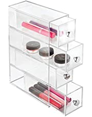 InterDesign Clarity Cosmetic Organizer for Vanity Cabinet to Hold Makeup, Beauty Products - 4 Drawers, Clear