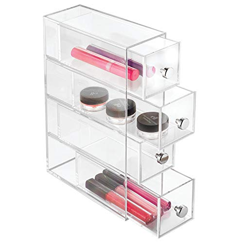 iDesign 4-Drawer Plastic Vanity Organizer, Compact Narrow Storage Organization Drawers Set for Cosmetics, Dental Supplies, Hair Care, Bathroom, Dorm, Desk, Countertop, Office, 2.75 x 7 x 10, Clear