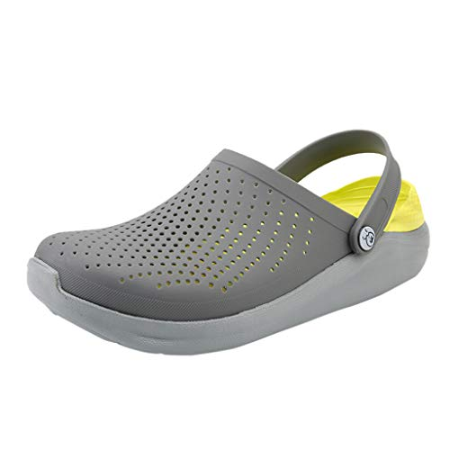 Kinglly Outdoor Mens Slippers Soft Breathable Walking Beach Sports Sandals Hole Shoes Clogs Moccasins Gray