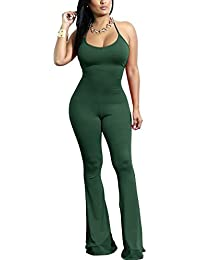 f4a3d726ec5 Women s Sexy Halter Neck Bodycon Jumpsuits Sleeveless Solid Wide Leg Long  Pants Flare Rompers