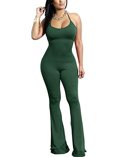 Choichic Women's Halter Neck Bodycon Jumpsuit Romper Sleeveless Backless Long Flare Pants X-Large Green