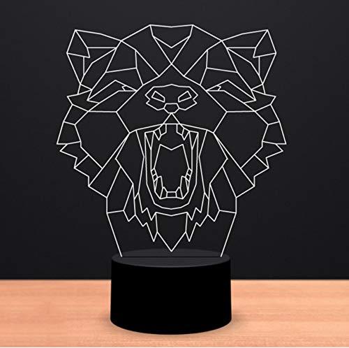 Creativo Resumen Interruptor táctil táctil táctil Luces Nocturnas LED 3D Leopard Head Shape Lámpara de escritorio 7 Cambio de color Animal Iluminación Inicio Regalos Decoración 1f8d3c