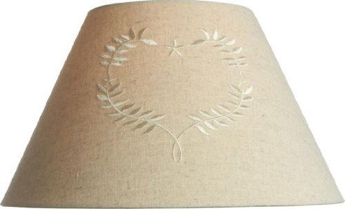 Good Country Style Linen 10u0026quot; Coolie Lamp Shade With Embroidered Heart ~  Pendant Or Table Lamp