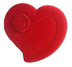 Red Rose Heart Shaped Velvet Jewelry Box.