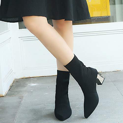 Zapatos Casuales Ante Botines De Martin Largas Alta Mujer Mujer Largo Plano Color returom Plana Alto Pierna Invierno Otoño Altas Negro Casual Botas Sólido rrXA7B