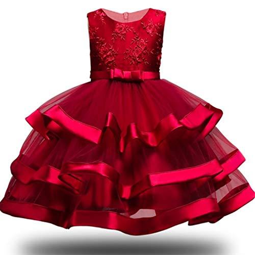 Girl Dress Party Birthday Wedding Princess Toddler Baby Girls Christmas Clothes Children Kids Girl Dresses,Wine red,5]()