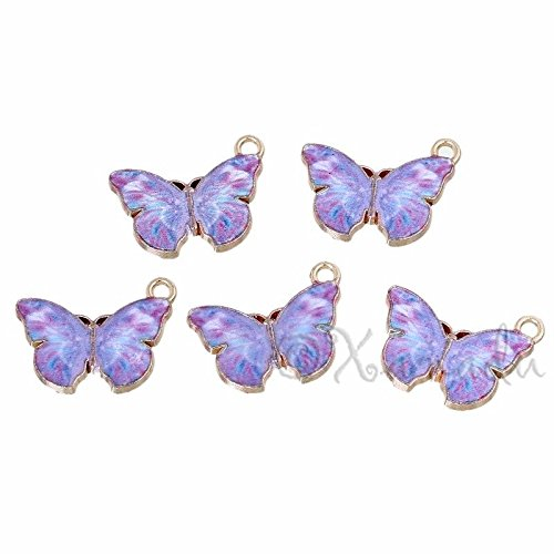 OutletBestSelling Pendants Beads Bracelet Purple Butterfly 20mm Wholesale Gold Plated Enamel Charms 5pcs (Charm Pewter Butterfly)