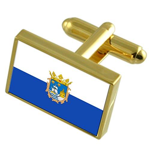 Santander City Spain Gold Tone Flag Cufflinks