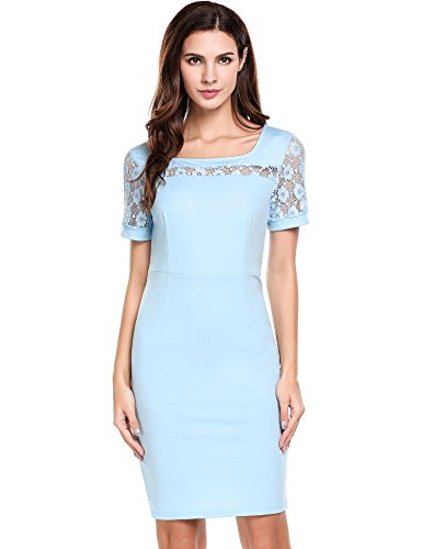 Meaneor Women Elegant Floral Lace Patchwork Short Sleeve Pencil Dress Crew Neck Cocktail Party Evening Gowns(Sky Blue,Medium)