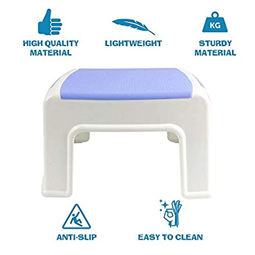 8'' Height Step Stool for Kids Toddler Child Potty Training Child Baby Seat with Anti Slip Surface - Rounded Edge Stepstool Portable Lightweight Stepping Stool with Max Hold 220 lbs - White Blue