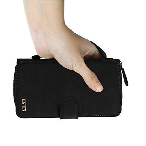 iPhone 7Plus/8Plus Women's Case,iPhone 7 Plus/8 Plus Wallet Case,Zipper Detachable Magnetic12 Card Slots Card Slots Money Pocket Clutch Cover Zipper Wallet Purse Case iPhone 7 Plus/8 Plus (Black) by TOPWOOZU (Image #4)