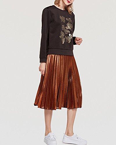Saison Métallique Genou Toute La Plissé Bronze Jupe Elastique Femmes Taille Robes Longueur qSLMUGVzp
