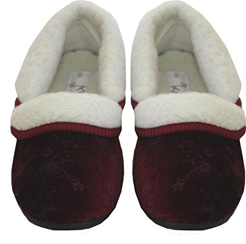 Flat Sizes Slippers 8 Lined UK Womens Comfort On Dr Ladies Burgundy Cosey Slip Keller Fur Shoes Velvet 3 RtpHq