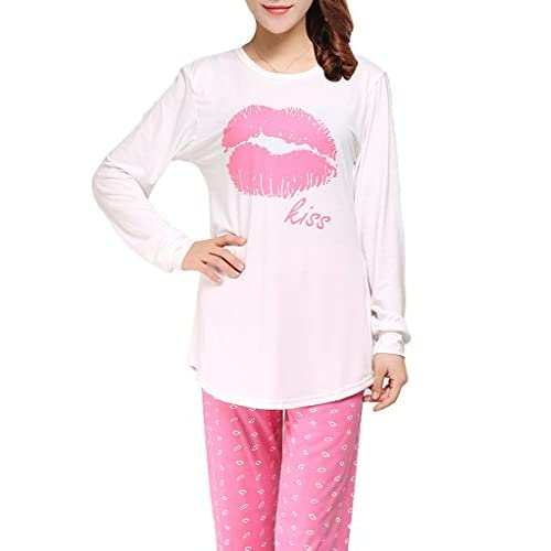 f3f7abe074 VENTELAN Women Pajama Set Comfy Long Sleeve Sleepwear Sweet Kisses  Loungewear 60%OFF