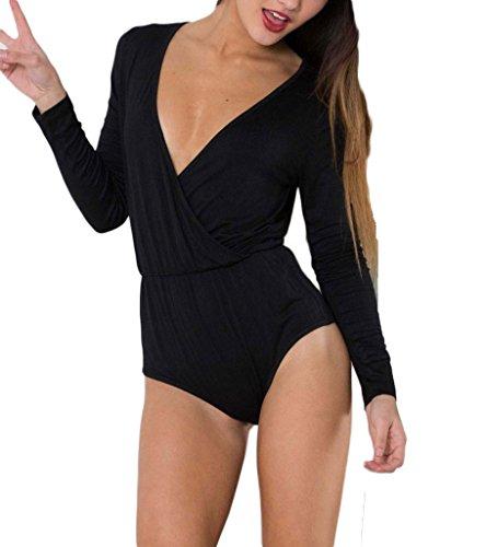 PERSUN Women's Black Deep V Neck Wrap Front Long Sleeve Plain Bodysuit