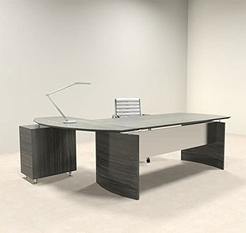 2pc Modern Contemporary L Shape Executive Office Desk Set