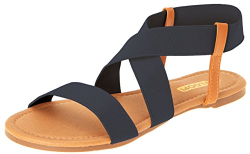 Womens Summer Flat Sandals Open Toe Elastic Ankle Strap Gladiator By Floopi