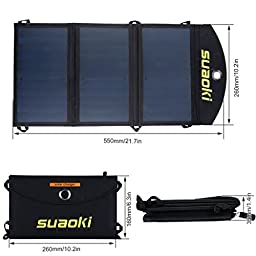 SUAOKI 20W Dual USB-Port Solar Phone Battery Charger