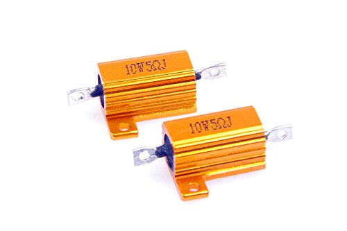 LM YN 10 Watt 5 Ohm 5% Wirewound Resistor Electronic Aluminium Shell Resistor Gold for Inverter LED lights Frequency Divider Servo Industry Industrial Control 2-Pcs