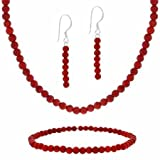 "Sterling Silver 4mm Created Red Coral Beaded Dangle Earrings, Stretch Bracelet & Necklace 15-19"" Set"