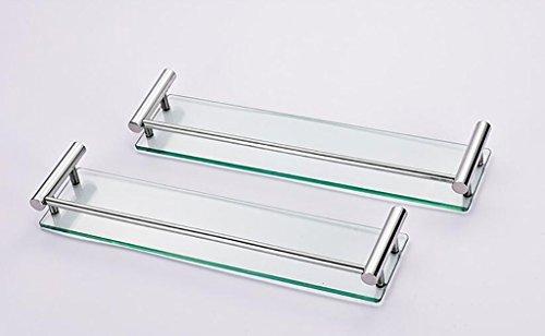YAOHAOHAO Bathroom shelves shelving bath rooms in glass, 304 stainless steel towel rails, bath rooms, glass shelving to the wall (Color 3 by YAOHAOHAO (Image #2)