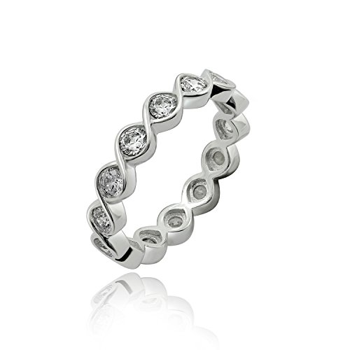 Bezel Set Eternity Band (DIAMONBLISS Platinum Plated Sterling Silver Cubic Zirconia Twisted Bezel Set Eternity Band Ring- Size 5)