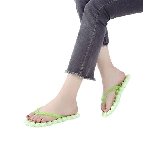 Janly® Fashion Shoes, Womans Massage Flat Heel Slipper Girls Summer Beach Flip Flops Home Outdoor Sandals Green