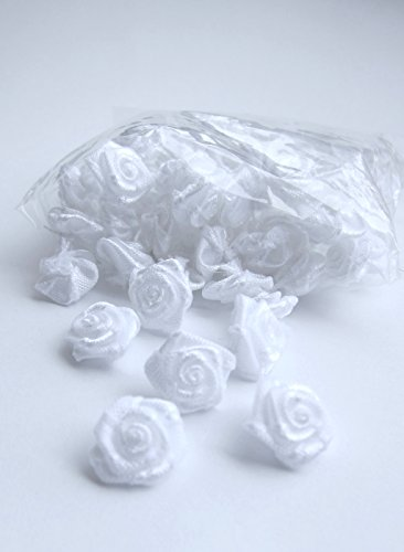 (Satin Ribbon Mini Roses Flowers White for Crafts Appliqué Sewing 1 cm - 100 pack)
