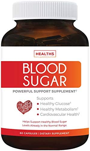 Blood Sugar Support Supplement – Helps with Blood Glucose Weight Loss – Natural Herb Health Level Formula – 60 Capsule Pills – High Amounts of Cinnamon Bark Powder