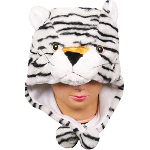 Bell Cascade Centerpiece (White Tiger_New_Warm Cap Earmuff Gift Cartoon Animal Hat Fluffy Plush Cap - Unisex (US Seller))