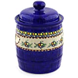 Polish Pottery Jar with Lid and Handles 12-inch UNIKAT