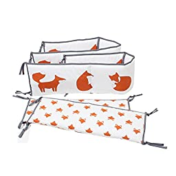 Bacati - Playful Foxs Orange/grey 10 Pc Crib Set Including Bumper Pad