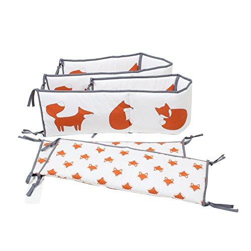 Bacati-Playful-Foxs-Bumper-Pad-OrangeGrey