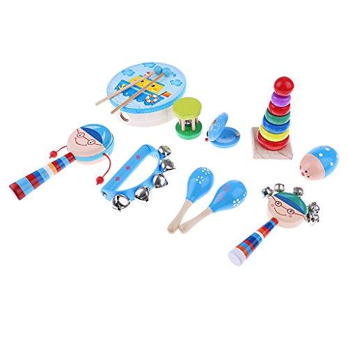 Baoblaze Orff Pandereta de Madera Juguete Musical Desarrollo para Niños Bebés - Azul 10 pcs