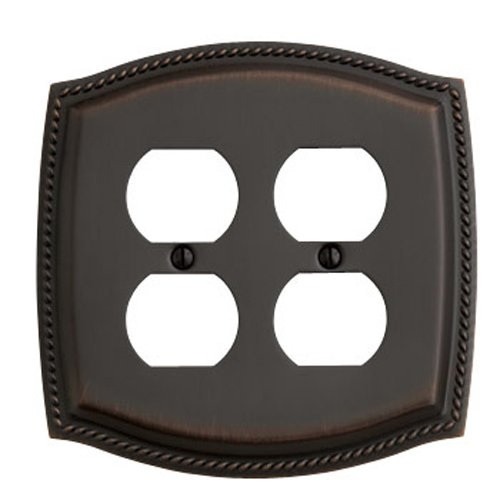 Double Duplex Solid Brass Switchplate - Baldwin 4794.112.CD Rope Design Double Duplex Switch Plate, Venetian Bronze