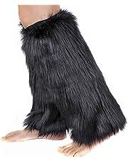 PowerKing Womens Fur Leg Warmer Furry Long Boot Cuffs Cover High Knee