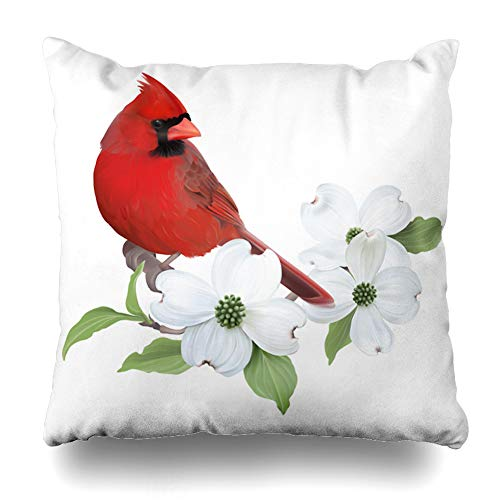 Ahawoso Throw Pillow Cover Square 18x18 Inches Red Dogwood Northern Cardinal Perched On Blooming Joy White Nature Green Branch Flower Tree Cushion Case Home Decor Pillowcase