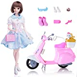 EXERCISE N PLAY Fashion Doll Playset with Scooter Dolls Toy Vehicle Tour Happy Hipster Brown Doll with Dress Up Kit with Gift Package