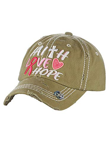 NYFASHION101 Women's Distressed Unconstructed Embroidered Baseball Cap Dad Hat, Faith Love Hope, Khaki
