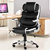 YAMASORO Executive Office Chair High Back Leather Desk Chair with Lumbar Support for Home Office Computer Chair 300lbs Black