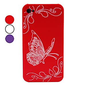 GJY Butterfly Pattern Hard Case for iPhone 4 and 4S (Assorted Colors) , Red