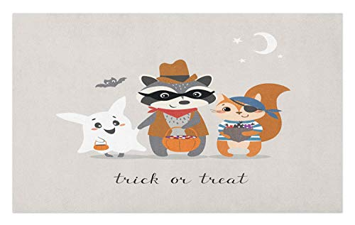 Ambesonne Ghost Doormat, Trick or Treat Quote with Happy Forest Animals on Halloween Costumes Moon and Stars, Decorative Polyester Floor Mat with Non-Skid Backing, 30 W X 18 L Inches, Multicolor ()