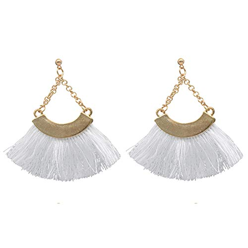 AMCHIC Fan Bohemian Statement Chain Pending Silky Tassel Fahion Earrings for Women Dangling,Thread Fringe with Vintage Ethnic Pattern Metal Drop Pendant Earrings,Ladies